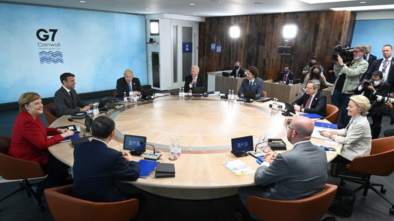 Joe Biden, Justin Trudeau, Mario Draghi, Ursula von der Leyen, Charles Michel, Yoshihide Suga, Angela Merkel, Emmanuel Macron et Boris Johnson au G7 de Carbis Bay.