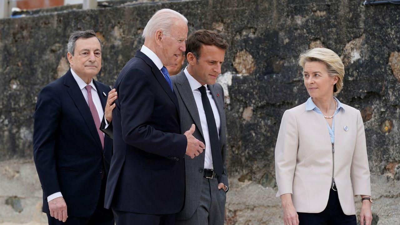 Face à un Joe Biden ferme vis-à-vis de la Chine, Mario Draghi, Emmanuel Macron et Ursula von der Leyen s'efforcent de trouver un juste milieu pour leurs relations avec le géant asiatique.