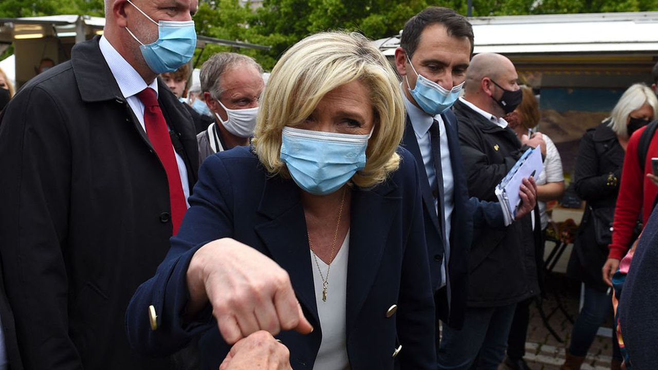 Marine Le Pen était en visite à Lunéville, le 8juin, pour soutenir le candidat du RN dans la région Grand Est.