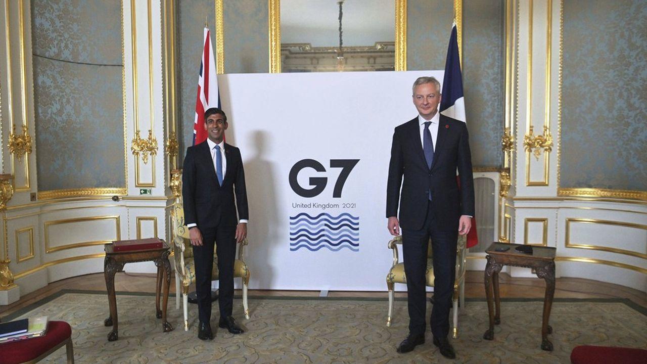 Rishi Sunak, chancelier de l'Echiquier britannique, et Bruno Le Maire, ministre de l'Economie et des Finances, au G7 Finances, le 4juin, au Royaume-Uni.