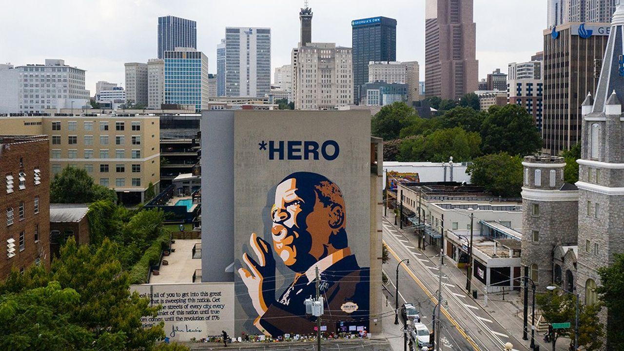 Fresque de John Lewis, compagnon de route de Martin Luther King et membre du Congrès pendant trente-trois ans, décédé en juillet 2020.