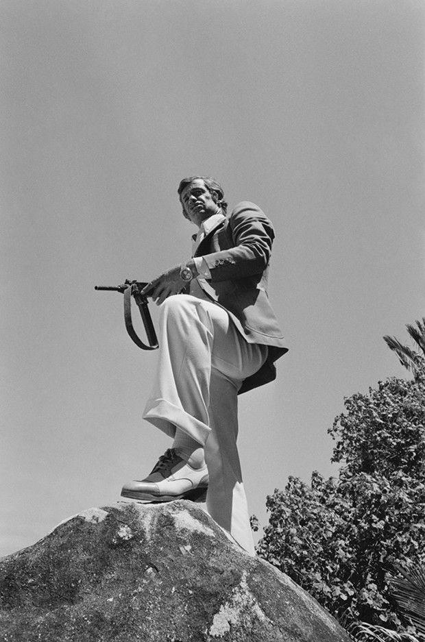 Jean-Paul Belmondo sur le tournage du «Magnifique», de Philippe de Broca, en 1973.