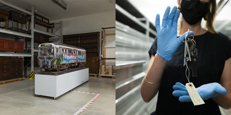 Dans les réserves du Mucem : un modèle réduit d'un wagon parisien de la ligne 13, et les clés du métro new-yorkais présentées par Helia Paukner, conservatrice au musée.