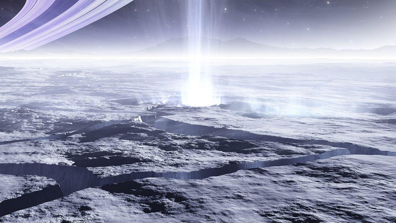 Image 3D d'un geyser de matières océaniques sur Encelade, l'une des lunes de la planète Saturne.