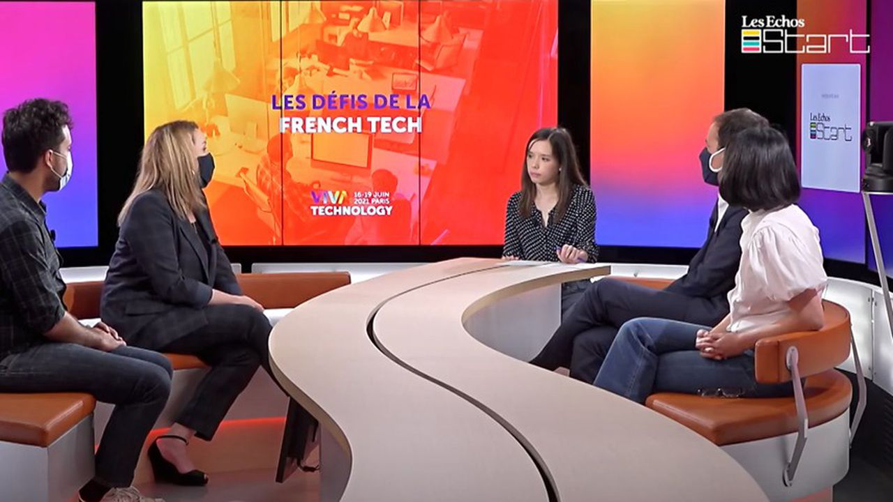 Mounir Mahjoubi, Axelle Lemaire, Cédric O et Fleur Pellerin dans le studio TV des Echos.