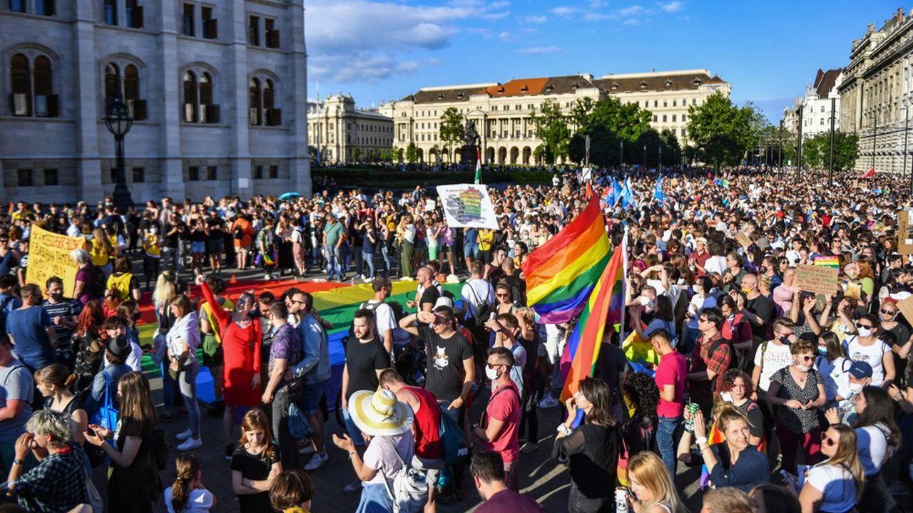 Des militants protestent, le 14juin à Budapest, contre le projet de loi prévoyant d'interdire la «promotion» de l'homosexualité.