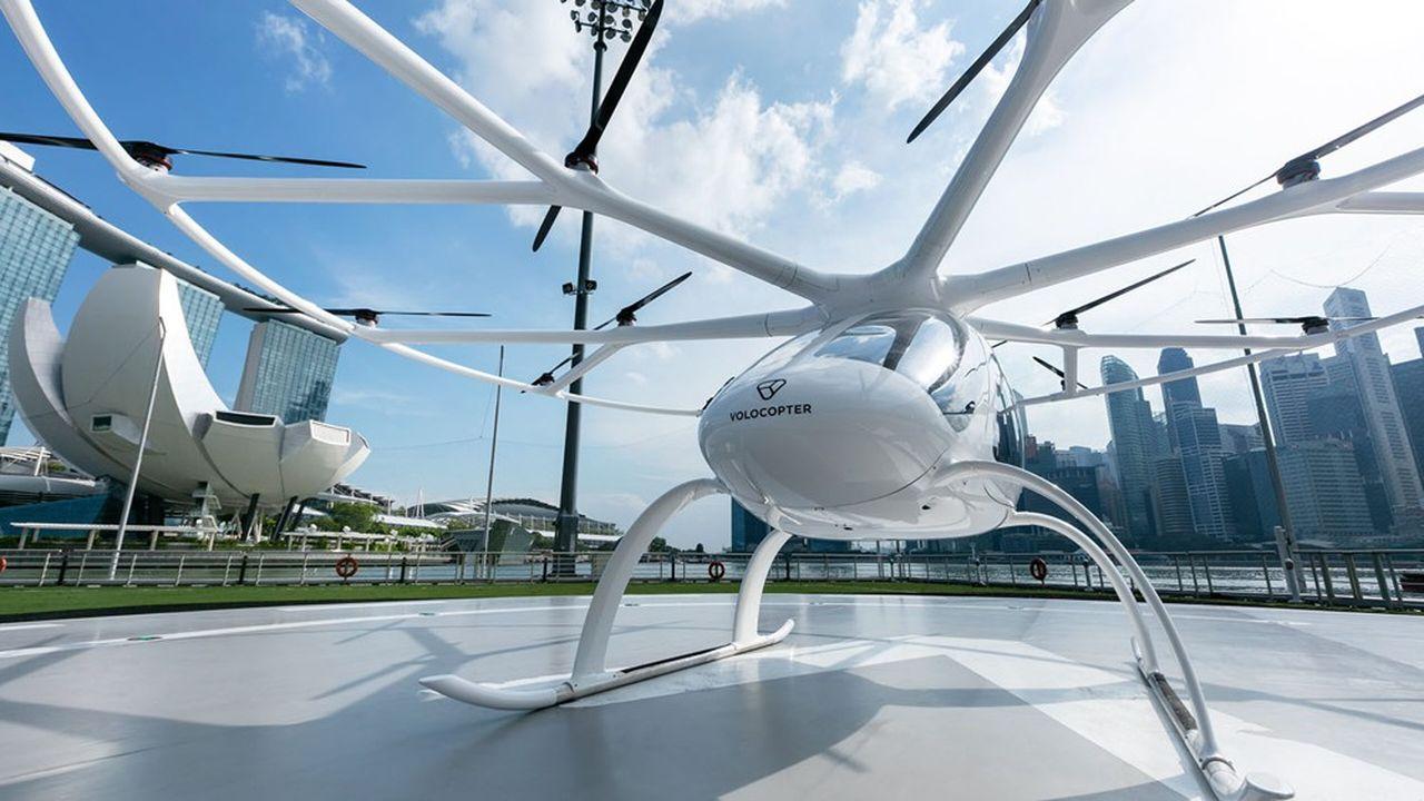 Le Volocopter pourrait offrir un premier service de taxi volant entre Roissy-CDG et Paris, pour les JO de 2024.