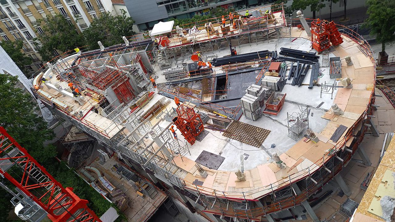 Sur le chantier de « Biome », l'immeuble de bureaux, avec aussi quelques logements, de SFL, dans le 15e arrondissement de Paris.