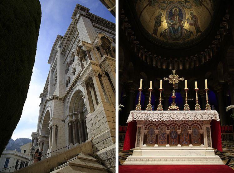 La cathédrale de Monaco, construite en 1875, ou se sont mariés Grace Kelly et Rainier III. À droite: l'autel.