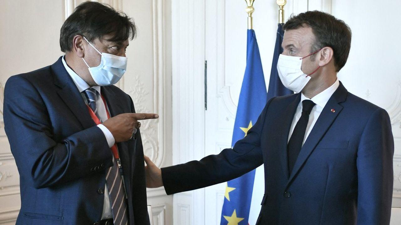 Emmanuel Macron et Lakshmi Mittal, ce lundi lors de «ChooseFrance».