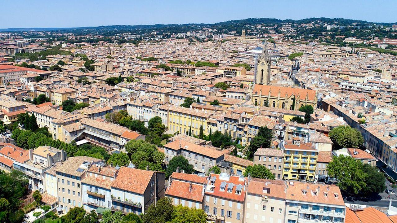 Photo aérienne du centre-ville d'Aix-en-Provence, dans les Bouches-du-Rhône, où se tiennent les rencontres économiques.