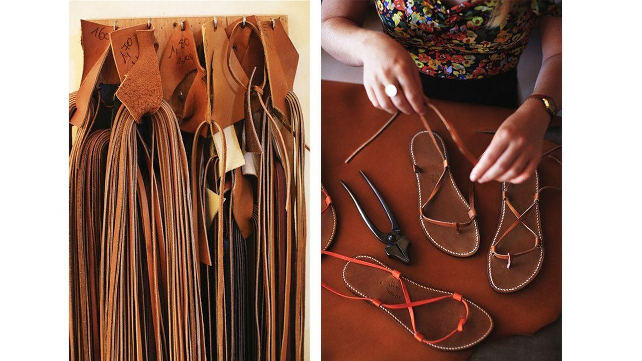 Fabrication de sandales tropéziennes Rondini . Les lacets destinés au modele Bikini sont assemblés devant le client au moment de l'achat.