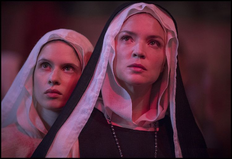"""Virginie Efira (right) and Daphné Patakia in """"Benedetta"""", by Paul Verhoeven."""