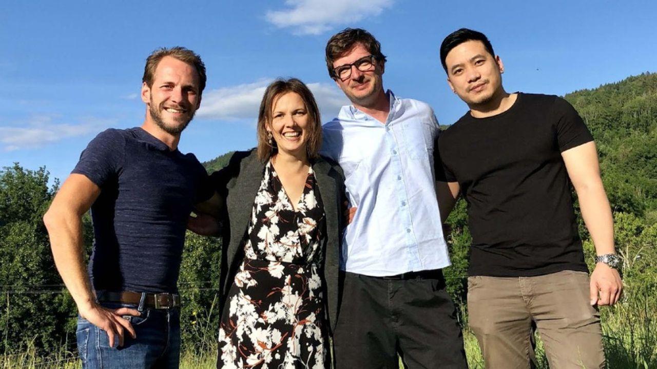 L'équipe de cofondateurs de Knockk (de gauche à droite) : Benjamin Bouvier, Mathilde Renard, Jonathan Guislain et Cao Tri Do.