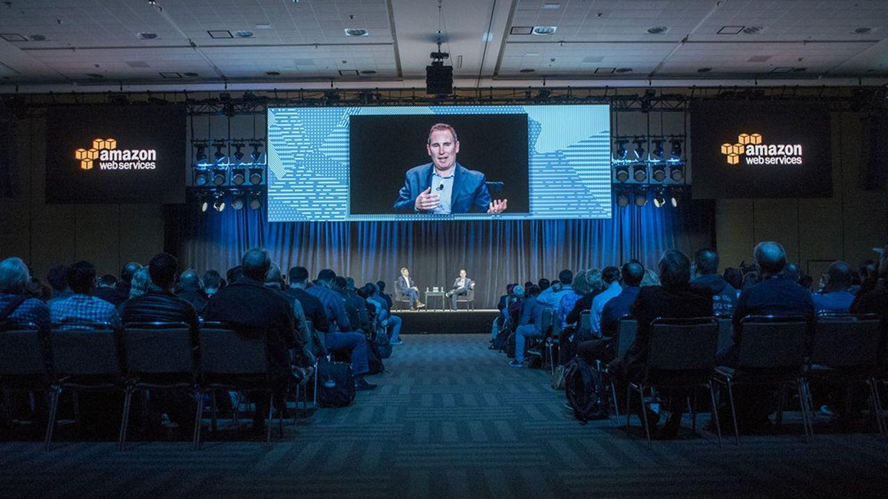 Andy Jassy, lors d'une conférence d'AWS, la branche Cloud d'Amazon qu'il dirigeait avant de devenir PDG d'Amazon.