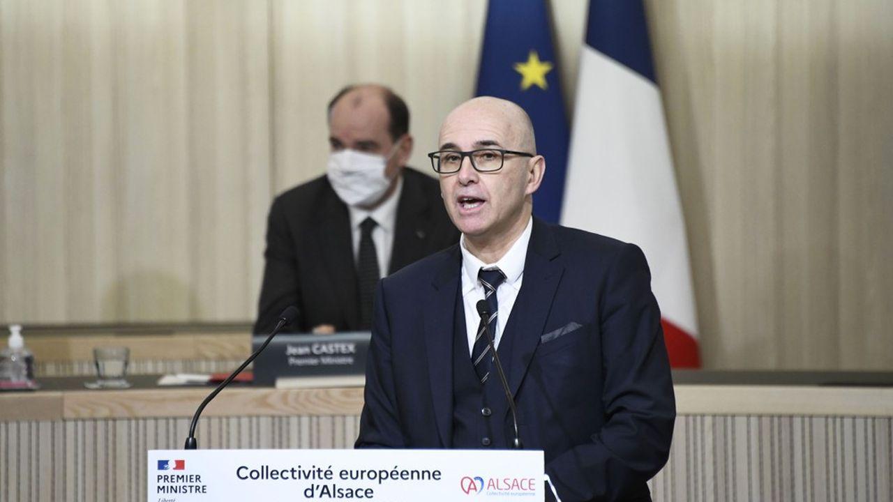 Frédéric Bierry, le 23janvier dernier, à l'occasion du déplacement du Premier ministre Jean Castex à Colmar.