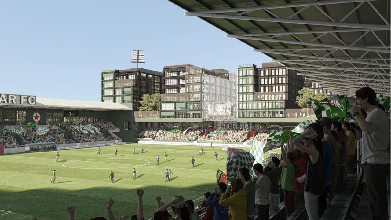 Le Stade Bauer, qui devrait compter 10.000 places, se veut «ouvert sur la ville» en portant l'accent sur l'offre commerciale environnante et la valorisation du végétal