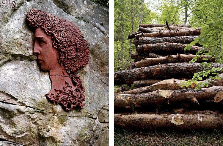 Nemerosa, reine des bois, oeuvre du sculpteur Adam Salomon (1818-1881) réalisée en 1948 d'après une légende créée par le poète Alexis Durand. Grumes au carrefour des Grands Feuillards en attente d'acheteurs.