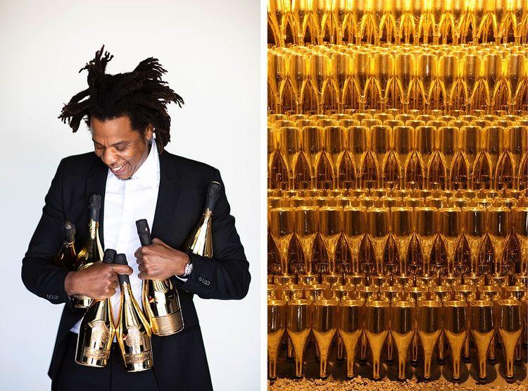 Le rappeur Jay-Z, avec les fameuses bouteilles dorées du champagne Armand de Brignac (ci-dessus : en cave), marque rachetée en 2014.