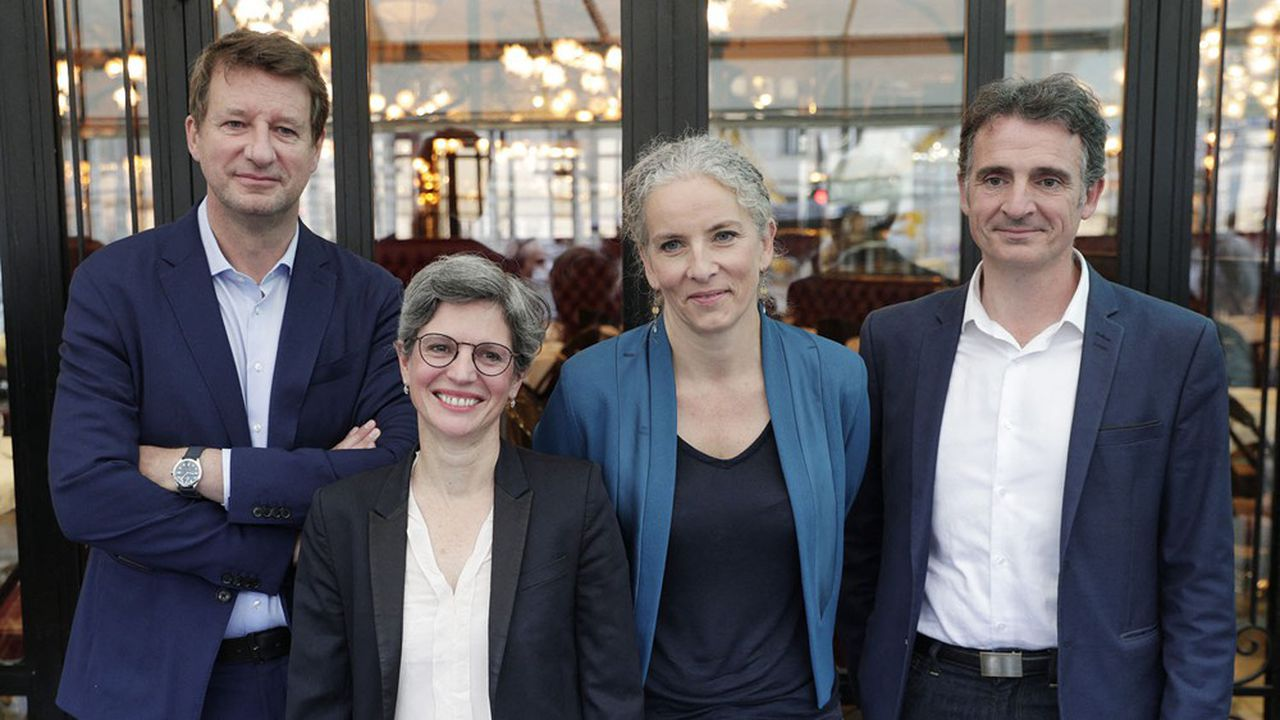 Les quatre candidats à la primaire des écologistes: Yannick Jadot, Sandrine Rousseau, Delphine Batho et Eric Piolle, ce lundi à Paris.