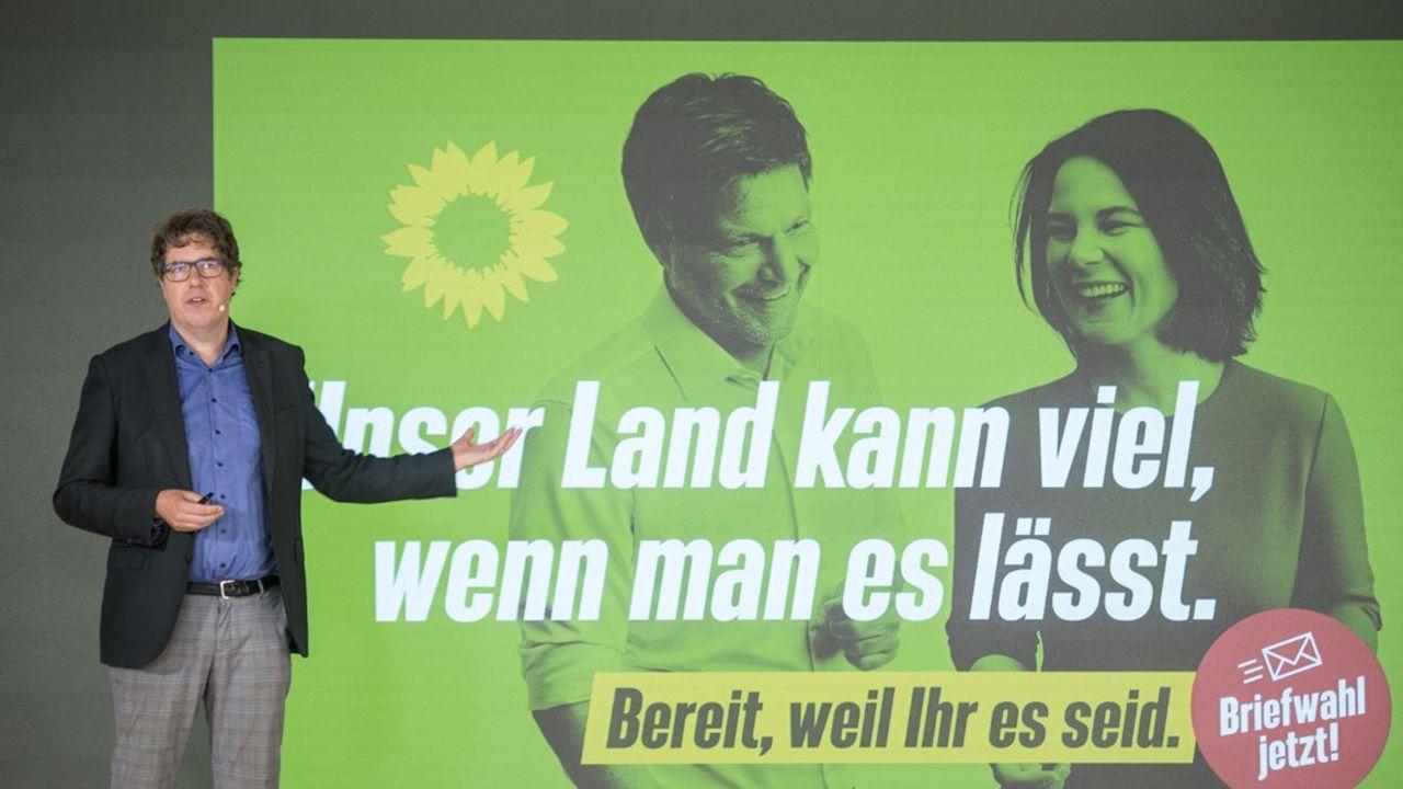 Le secrétaire général des Vertsallemands, Michael Kellner, a présenté lundi les grandes lignes de la campagne électorale du parti.