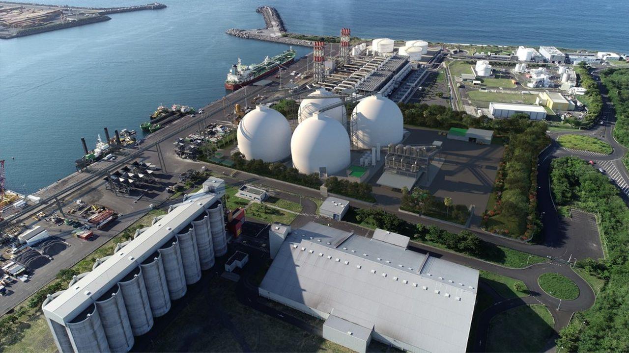 Image de synthèse: les futurs dômes de stockage de la biomasse d'Albioma à Port Réunion.
