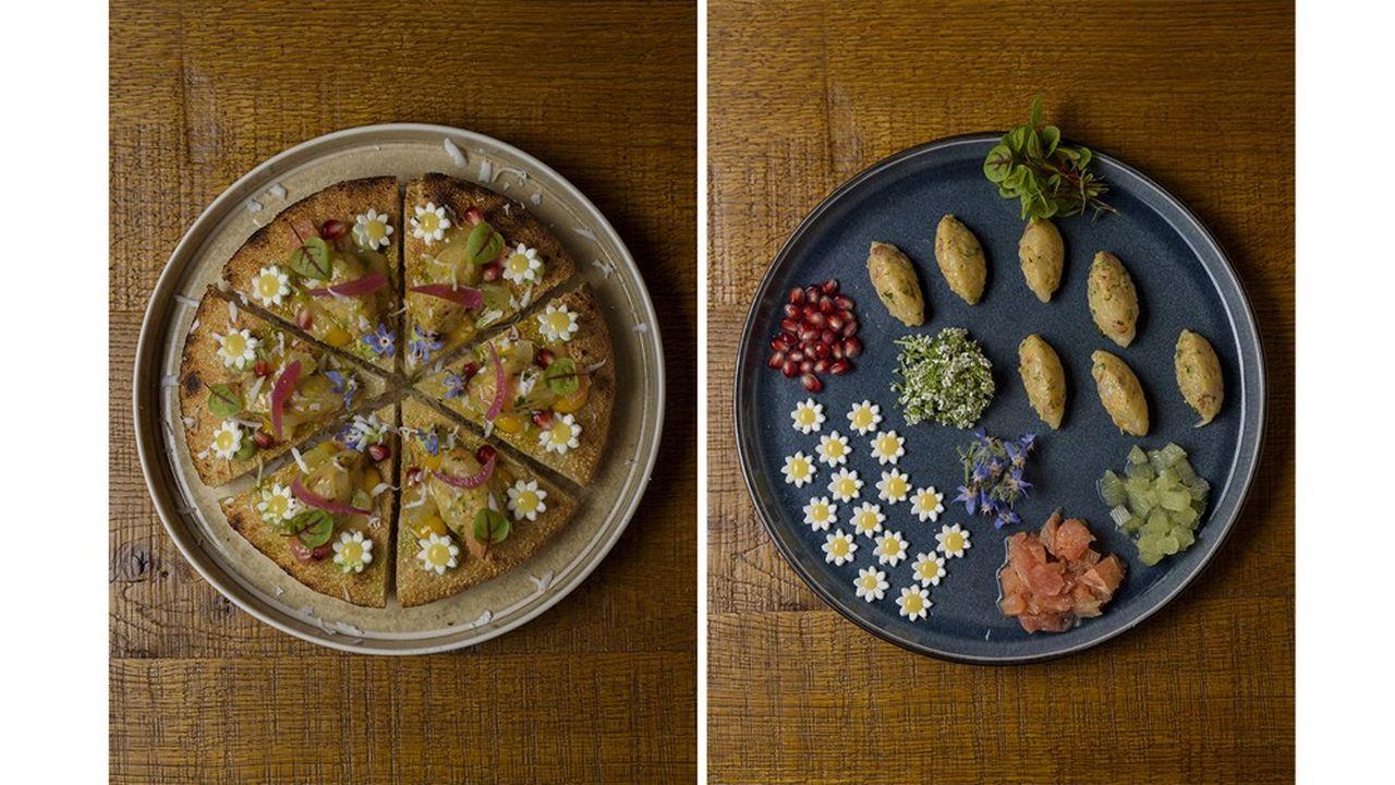 La pizza dégustation au gamberoso, entre pizza et focaccia, et ses ingrédients: guacamole pimenté au curry, gel de mangue, fleur de ricotta avec confit de citron kumquat et pickles d'oignons grelots rouges.