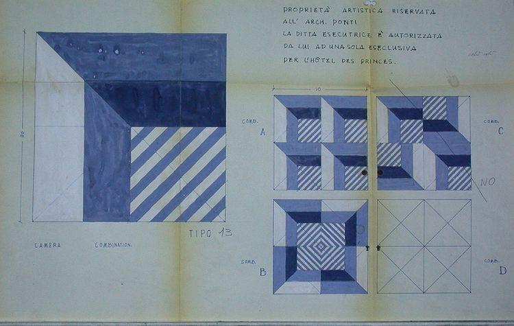Les carreaux de ciment bleus et blancs créés par l'architecte designer Gio Ponti pour les hôtels «Parco dei principi».