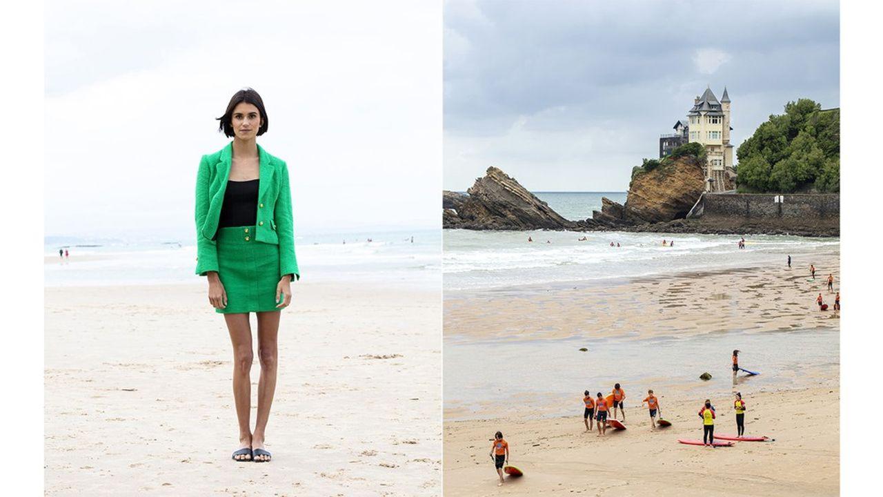 Victoria Vergara, longboardeuse professionnelle. À droite : la côte des Basques, rendez-vous des surfeurs,avec au fond la villa Belza.