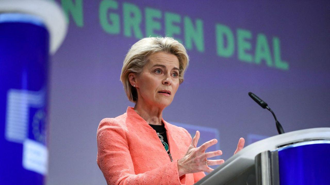 Ursula von der Leyen, la présidente de la Commission européenne, lors de la présentation du paquet climat-énergie européen, le 14 juillet.
