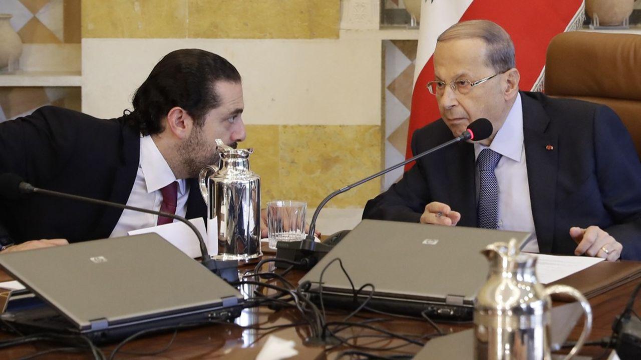 Le Premier ministre Saad Hariri (à gauche) et le président libanais Michel Aoun s'opposaient depuis neuf mois sur la formation d'un nouveau gouvernement.