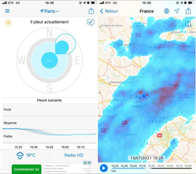 Capture d'écran de l'application RainToday: l'onglet principal à gauche et le mode «Radar HD» à droite.