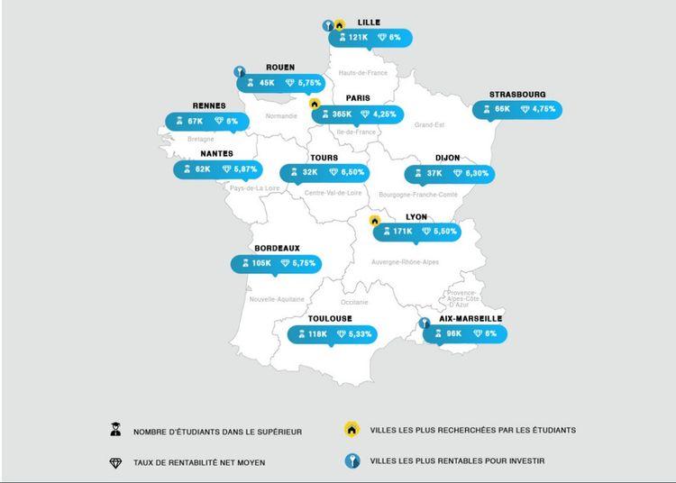 Carte des villes les plus rentables par région de France.