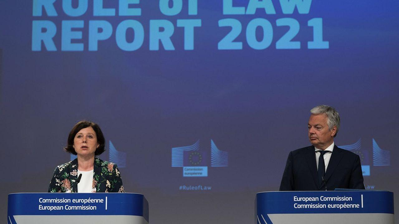 Věra Jourová, vice-présidente de la Commission européenne, et Didier Reynders, en charge de la Justice.