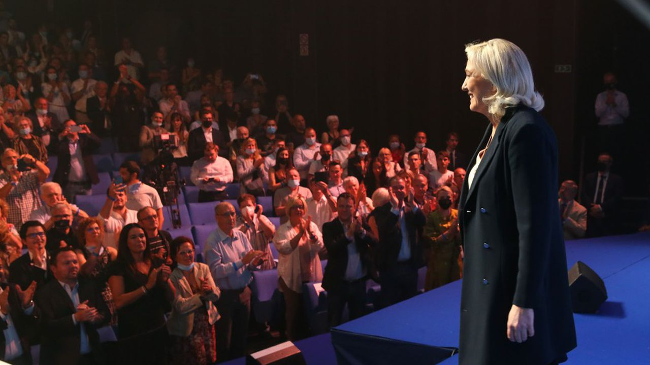 Marine Le Pen, lors du congrès du RN à Perpignan début juillet.