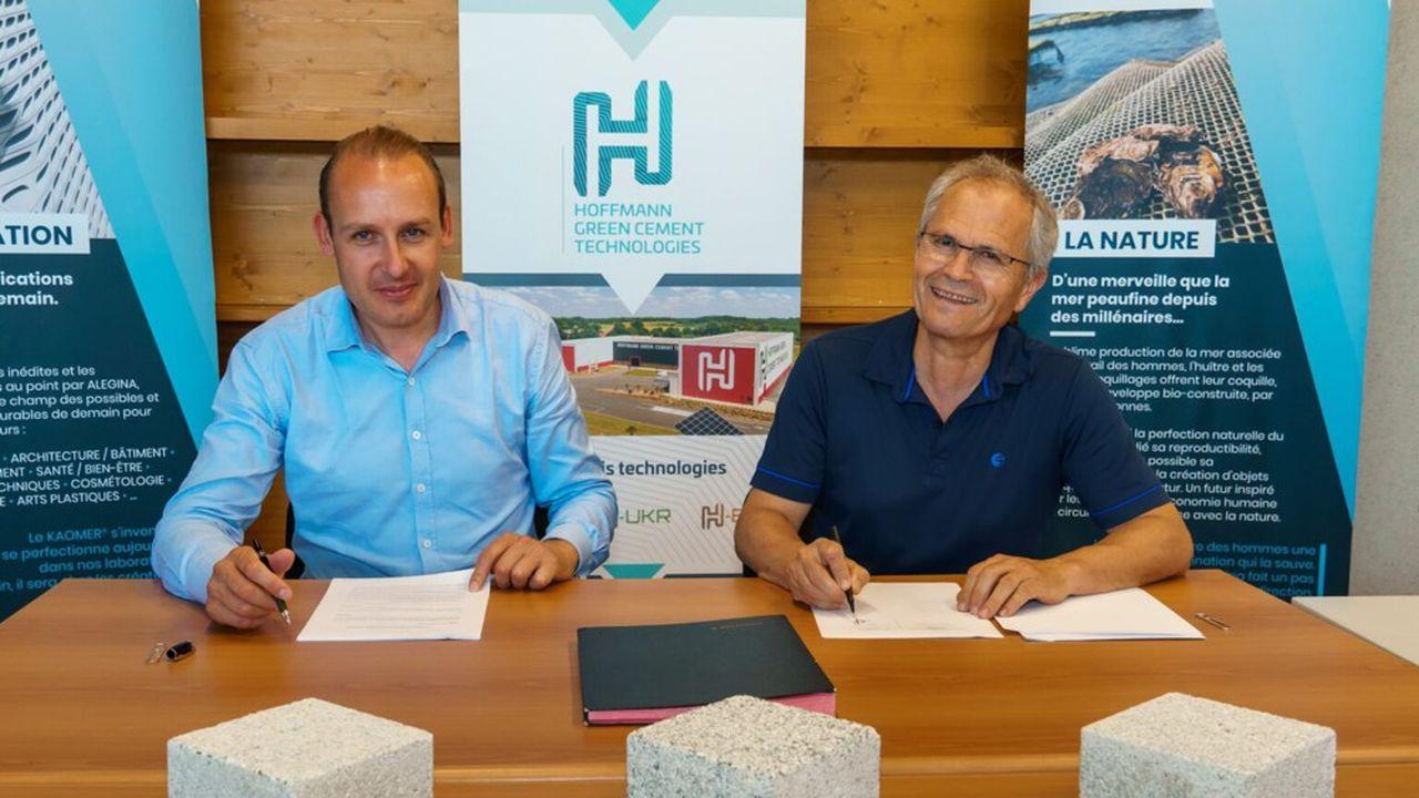 A gauche, Julien Blanchard, président de HGCT et Philippe Gaboriau, président d'Alegina.
