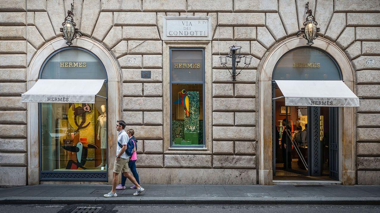 Une boutique Hermès à Rome.