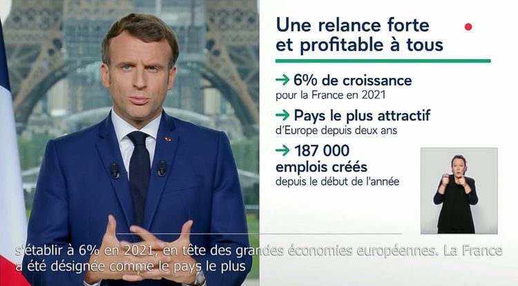 Emmanuel Macron lors de son allocution du 12juillet.