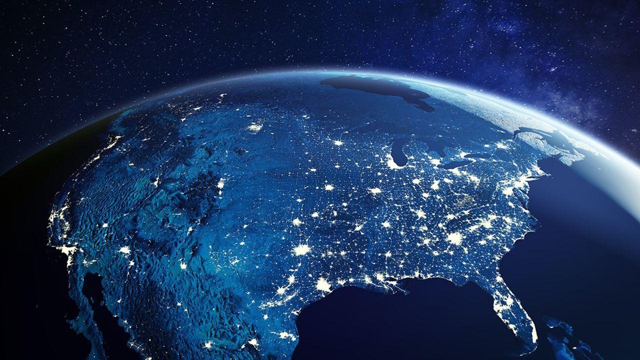 Les Etats-Unis et son réseau urbain vus de l'espace.