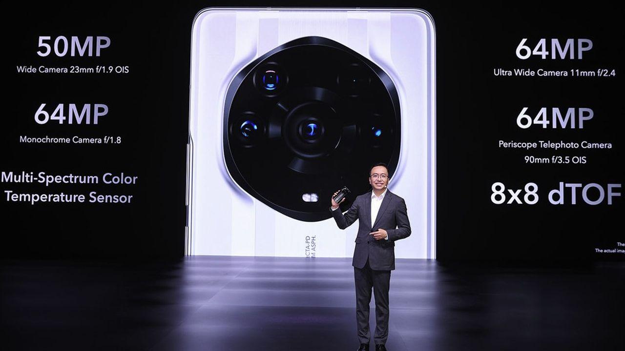 George Zhao, le PDG de Honor, jeudi lors de la présentation des trois nouveaux smartphones de la marque.