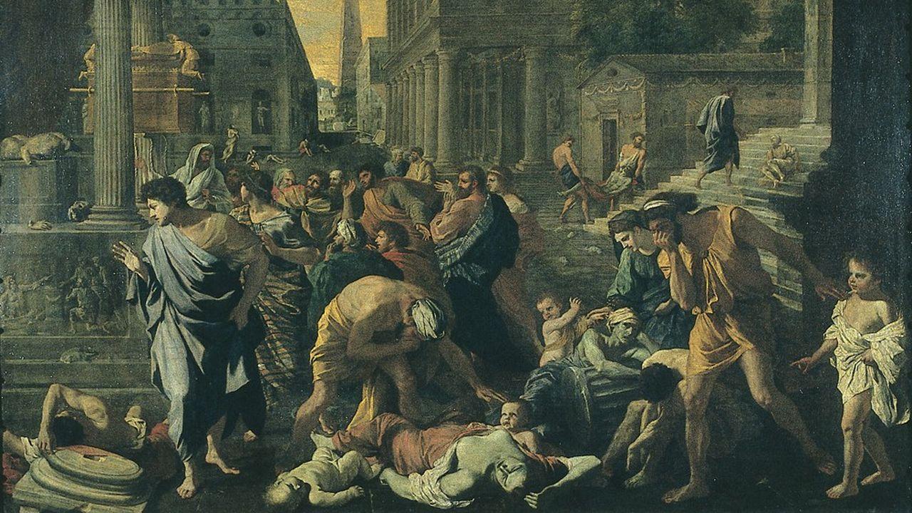 «La Peste d'Asdod» ou «Les Philistins frappés par la peste», peint vers 1630-1631 par Nicolas Poussin. Le tableau dépeint la peste dite «peste de Justinien».