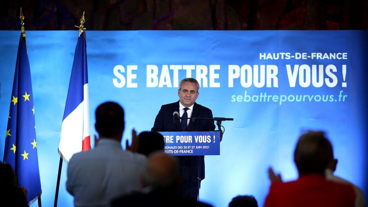 Xavier Bertrand lors de son allocution après sa réélection a la présidence de la région Hauts-de-France en juin dernier.