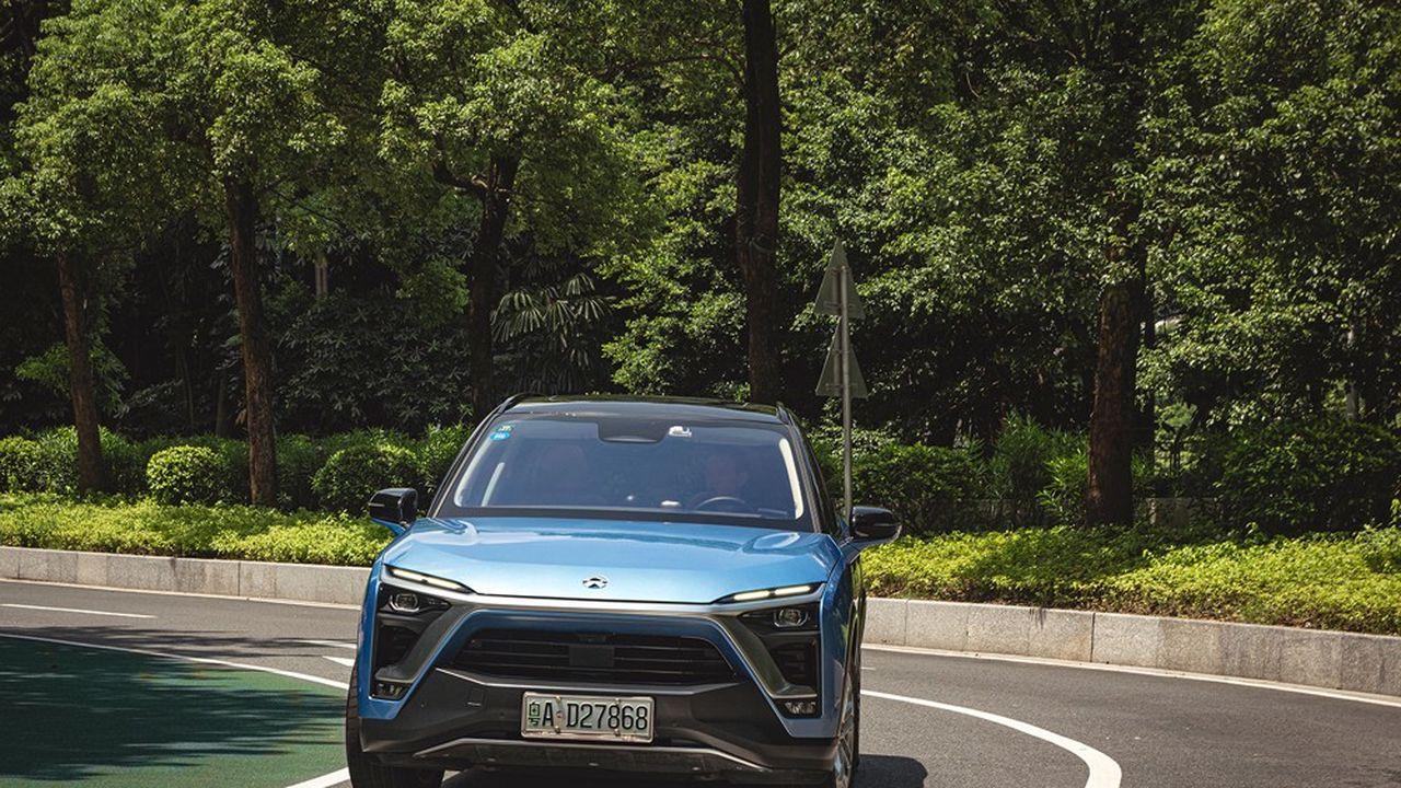 Le SUV E8S de Nio, au design futuriste, est l'un des trois modèles en circulation de la jeune pousse chinoise, qui a vendu 43.700 voitures en 2020 et près de 50.000 sur sept mois 2021.