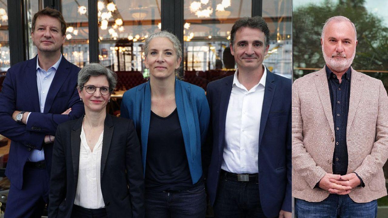 De gauche à droite: Yannick Jadot, Sandrine Rousseau, Delphine Batho, Eric Piolle, Jean-Marc Governatori.