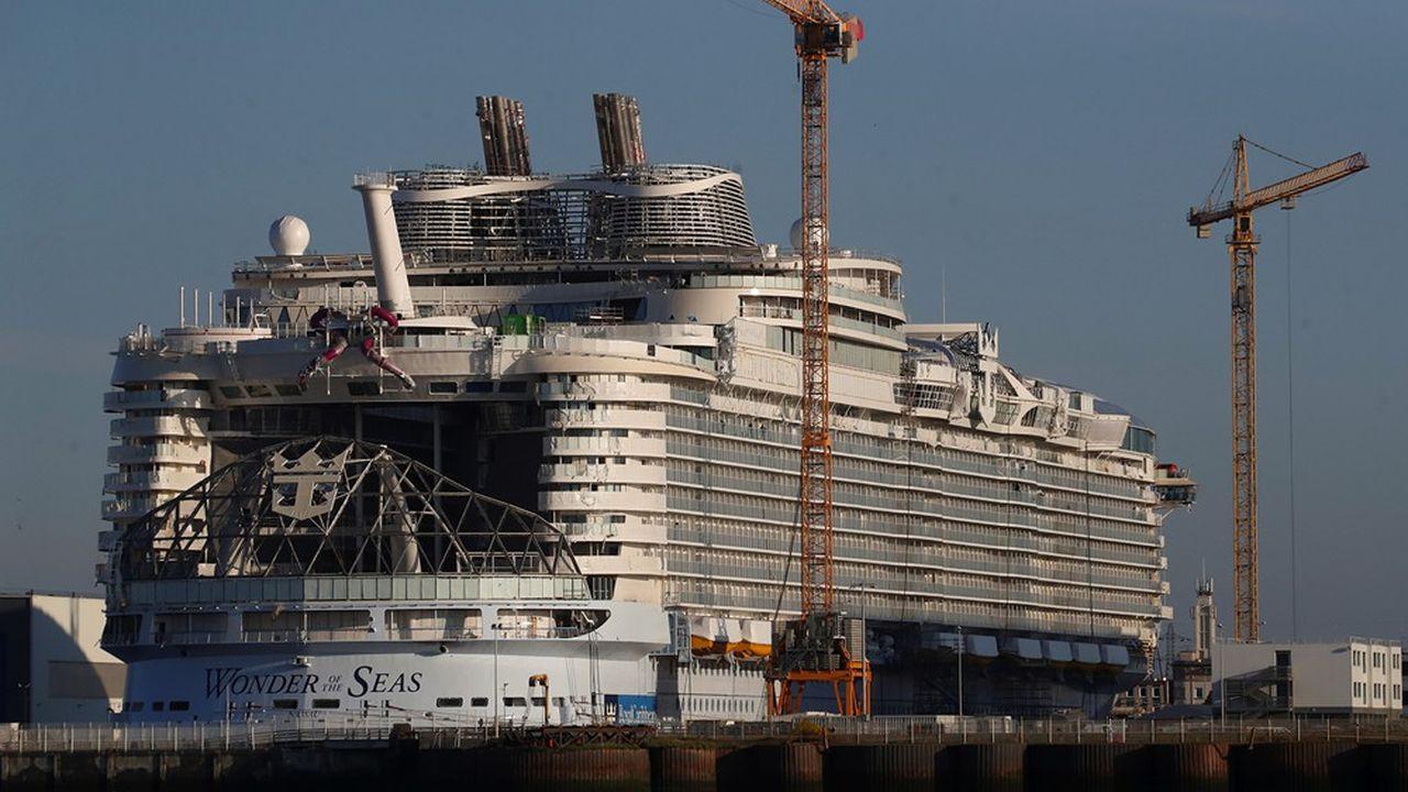 La construction du «Wonder of the Seas», un paquebot de la série Oasis commandée par RCCL aux Chantiers de l'Atlantique, a commencé en2019.