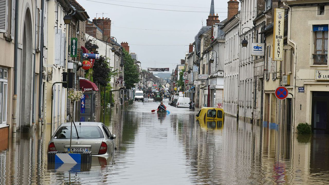 Inondations à Nemours (Seine-et-Marne) en juin2016.