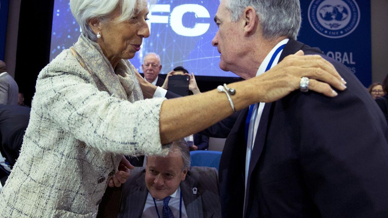 Christine Lagarde, présidente de la Banque centrale européenne, et Jerome Powell, le président de la Fed, à Washington, en octobre2019.