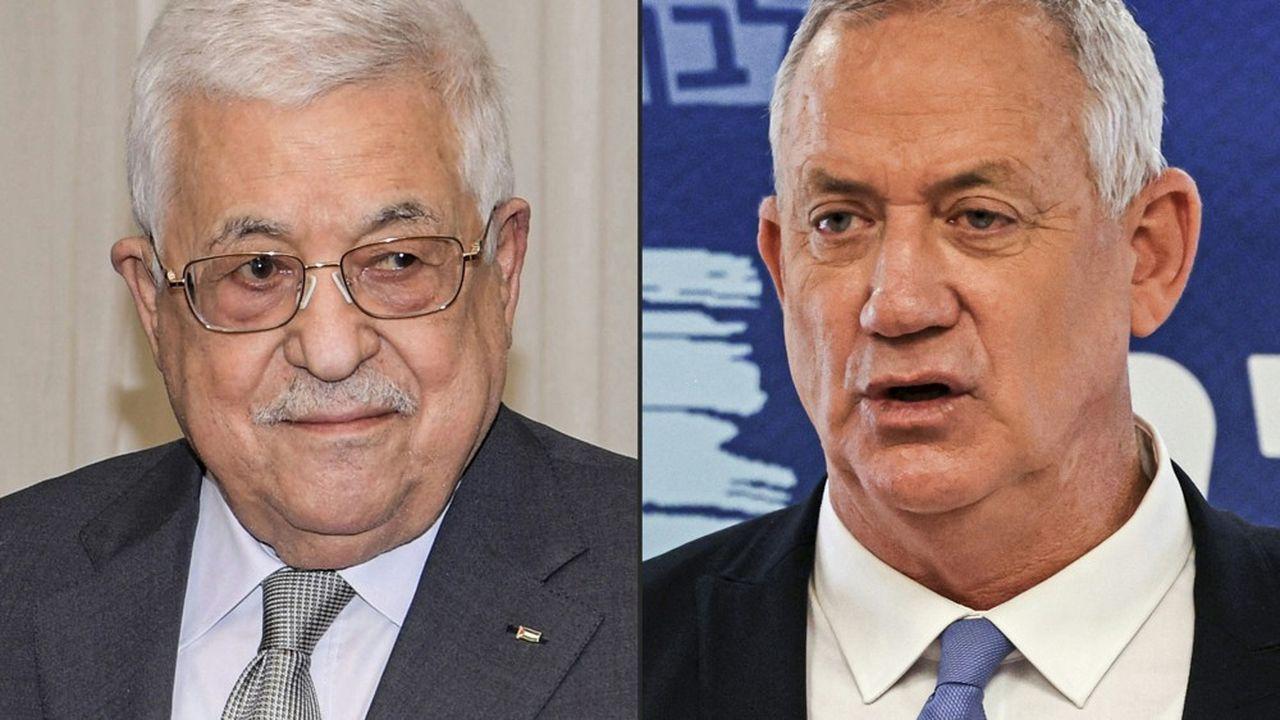 Le président palestinien Mahmoud Abbas (à gauche) et le ministre israélien de la Défense, Benny Gantz, se sont entretenus pendant plus de trois heures.