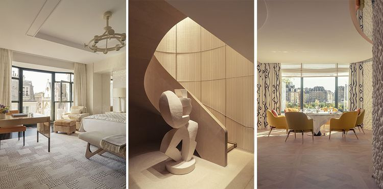 Vues de l'hôtel «Cheval Blanc» : chambre, escalier au mur revêtu de métal tissé de Sophie Mallebranche et sculpture de Florian Tomballe, salle du restaurant gastronomique « Plénitude ».