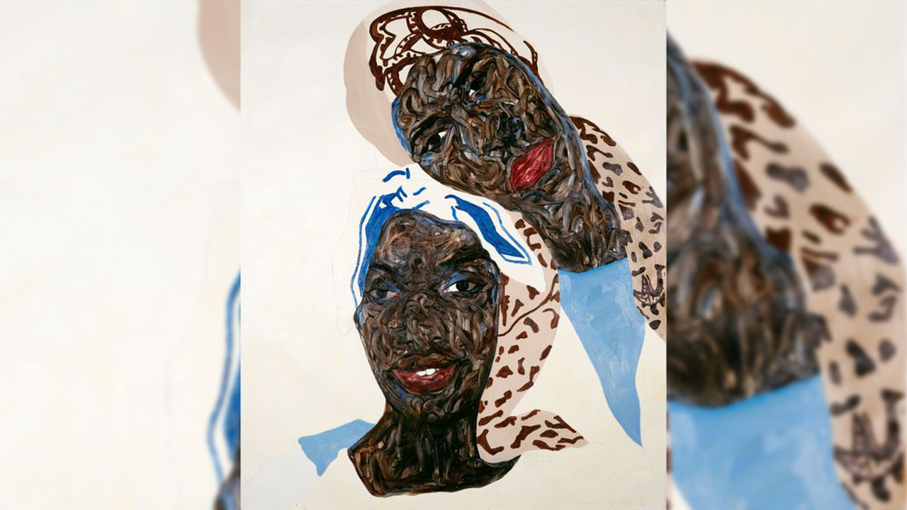 Amoako Boafo Touching Heads, 2020 Oil on canvas 47 1/4 x 39 3/8 in 120 x 100 cm